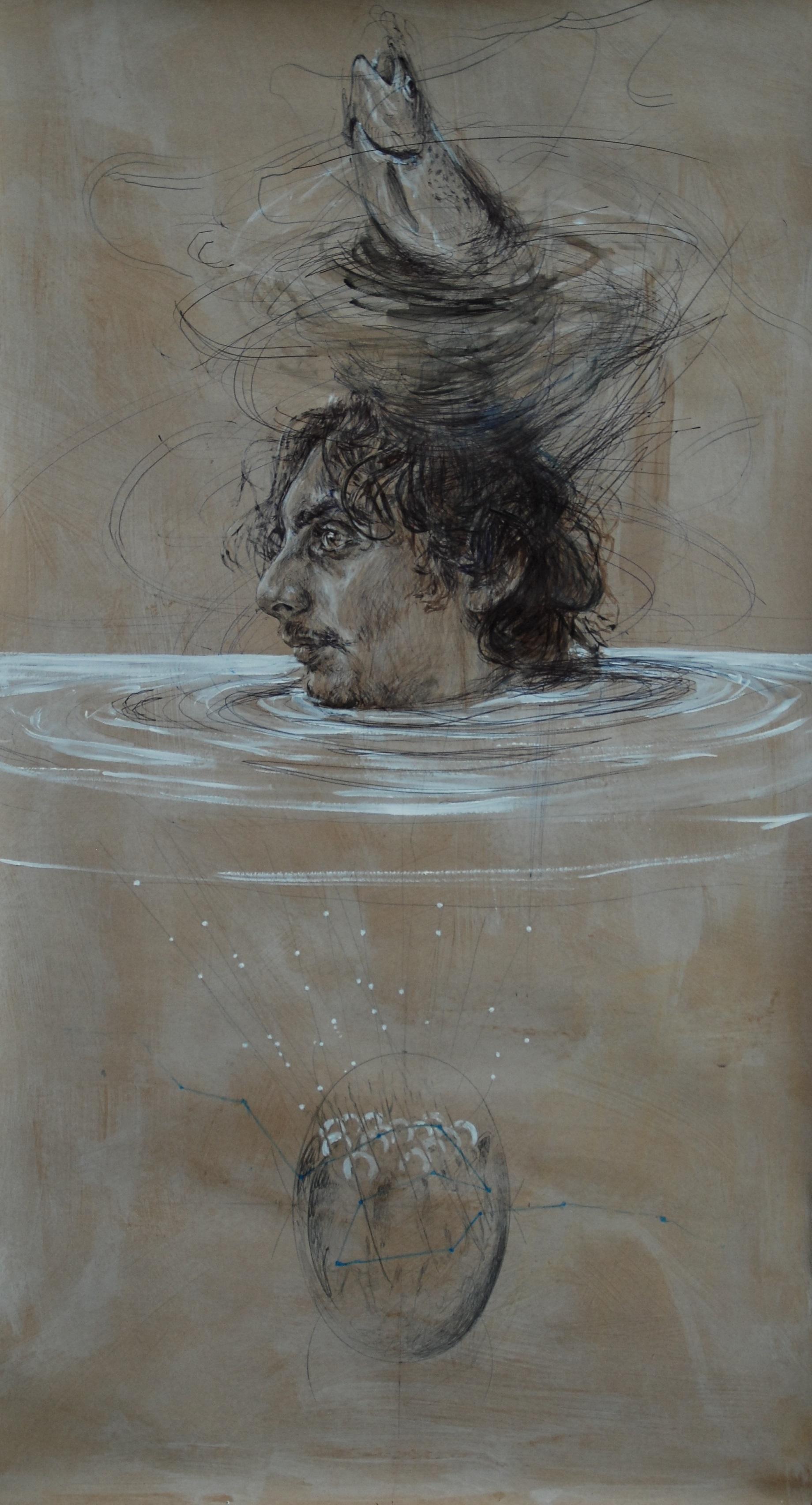 Moira Franco, Iceberg, 2013,biro, biro, acrilico e bitume su carta, 120x60 cm