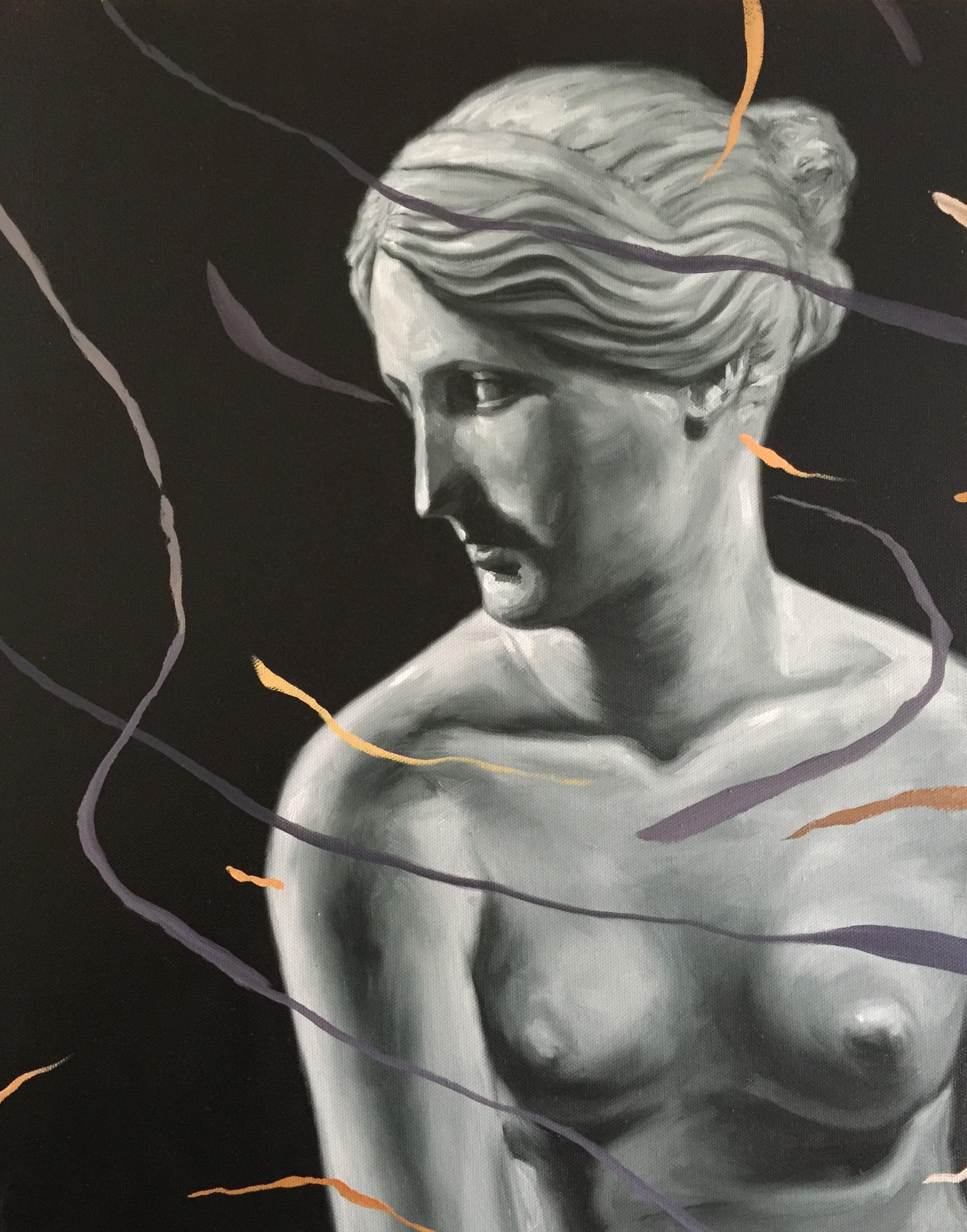 Gabriele Bonato, from the serie CRACKS, oil on canvas, 50 x 35cm