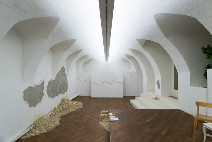 Daniel Hafner, Demolition Waste, 2014 plaster paint, variable size, installation view