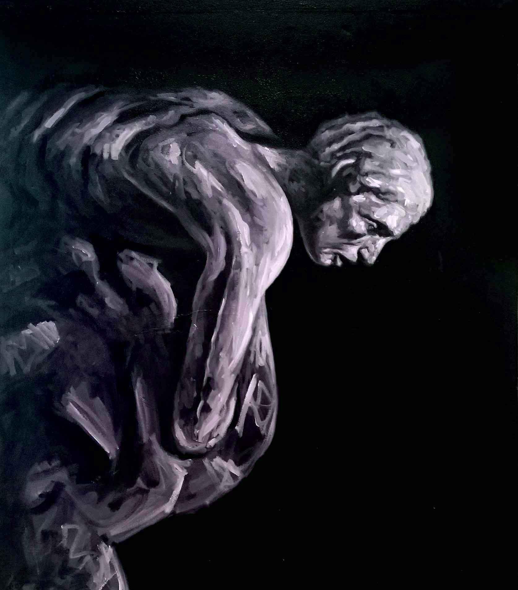 Gabriele Bonato, from the serie CRACKS, oil on canvas, 100 x 100cm