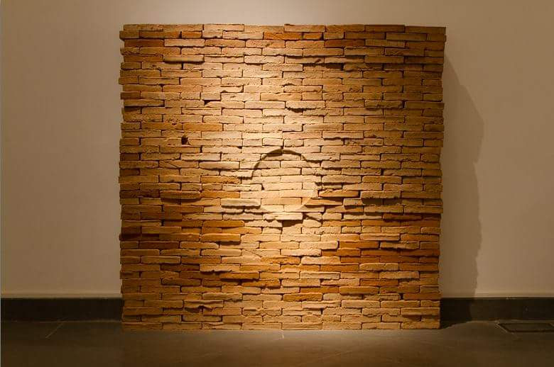 Calixto Ramirez, Untitled, 2016, brick wall, 170 x 170cm
