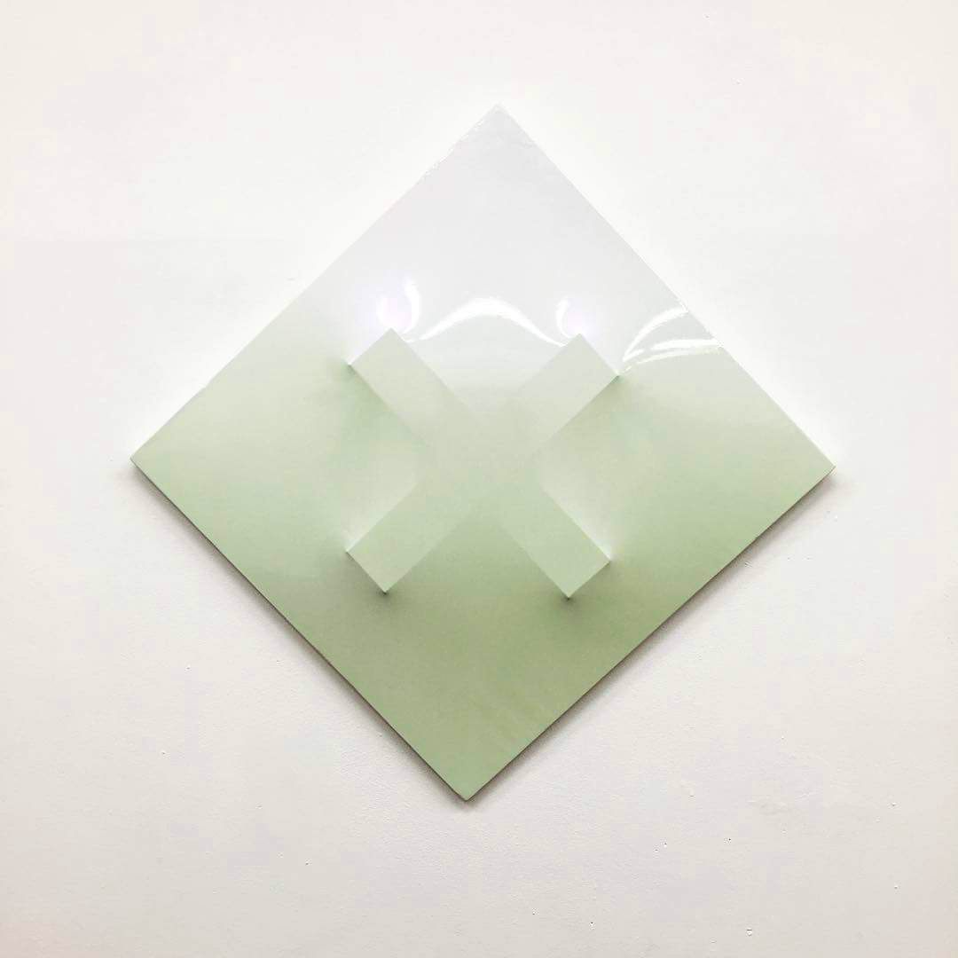 Gino Blanc, Cross, 2016, mixed media on wood, 60x60cm