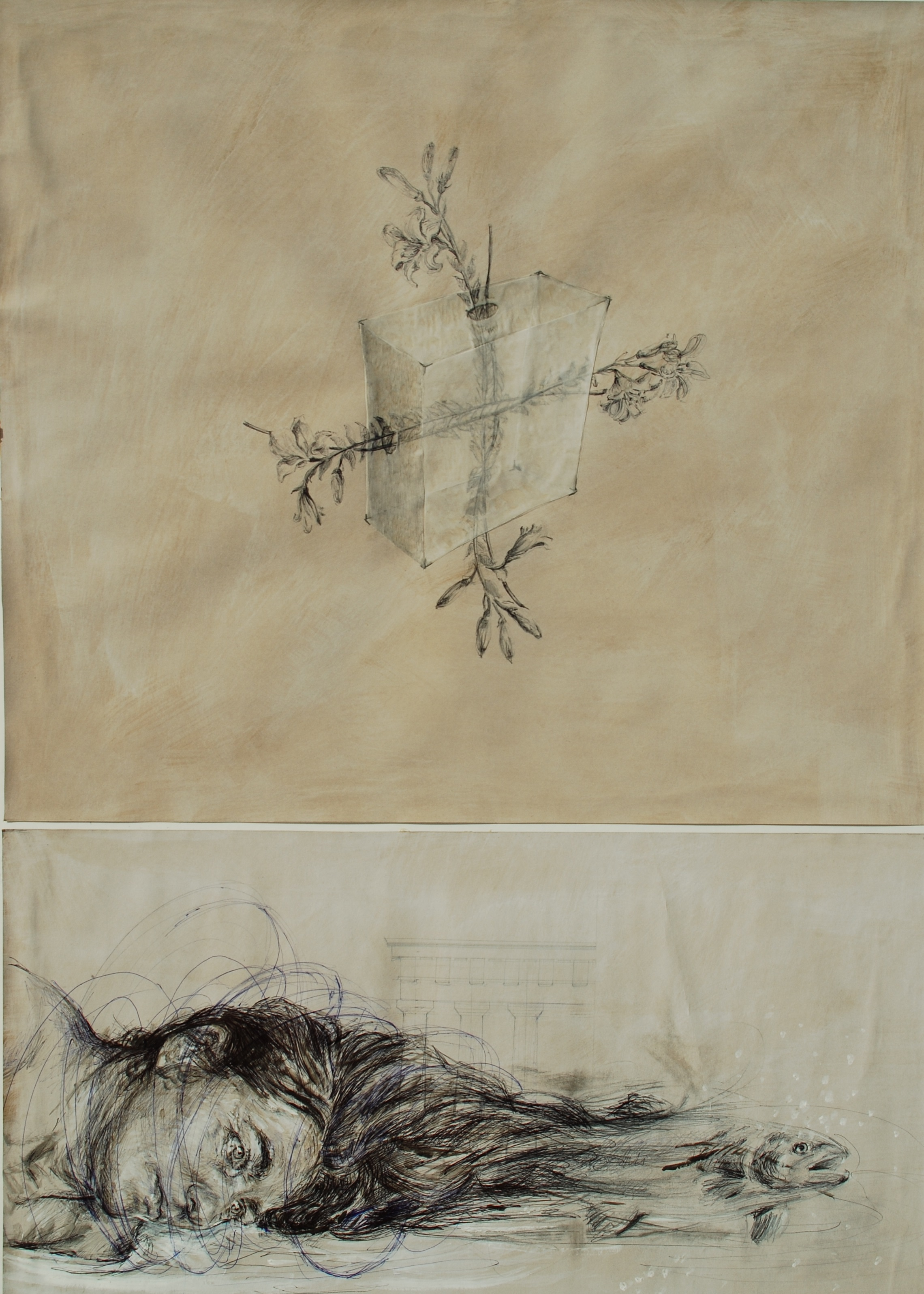 Moira Franco, Iceberg (Catarsi) 2013, biro, grafite e acrilico su carta, 98x70 cm