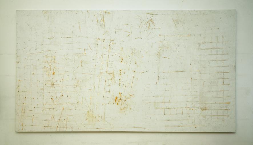 Valentina Palazzari, Senza titolo, 2016, ruggine su tela, 200 x 360cm