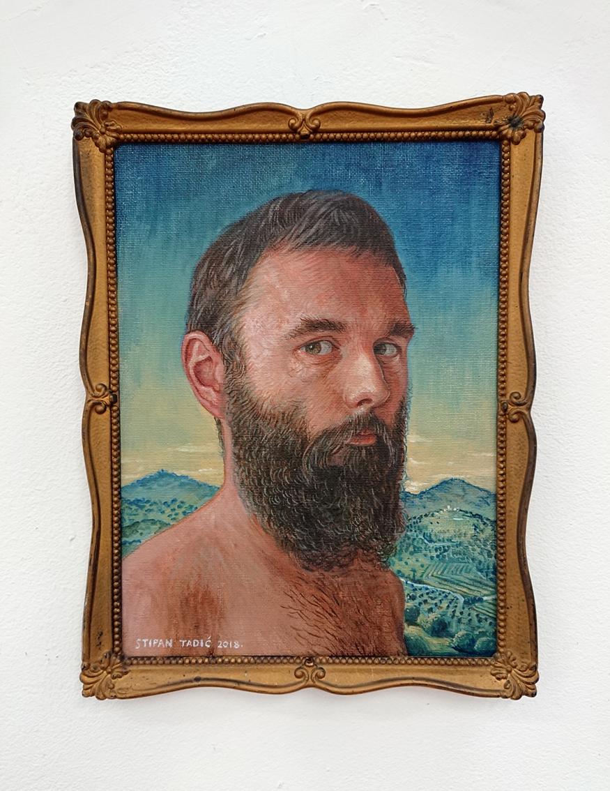 Stipan Tadić,portrait (artist #1), oil on canvas on wood, 24 x 18 cm