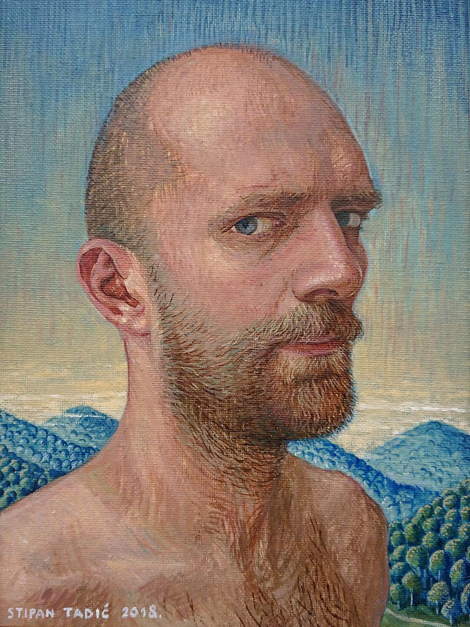 Stipan Tadić,portrait (artist #2), oil on canvas on wood, 24 x 18 cm